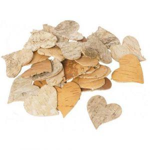 Cœur en écorces de bois 6 x 6 x 0.3 cm (Sachet de 30)