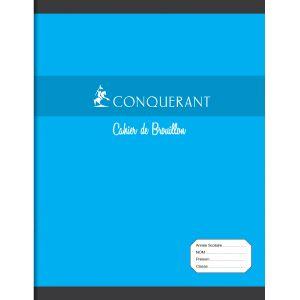 CONQUERANT Cahier de Brouillon 17x22cm Grands Carreaux Seyès 96 Pages Agrafées Couverture Carte Bleu