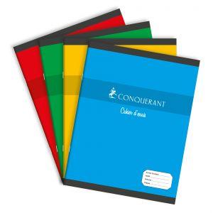 CONQUERANT Cahier d'Essais 17x22cm Grands Carreaux Seyès 96 Pages Agrafées Couverture Carte Coloris Assortis
