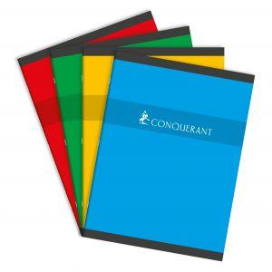CONQUERANT Cahier 24x32cm Grands Carreaux Seyès 48 Pages Agrafées Couverture Carte Coloris Assortis