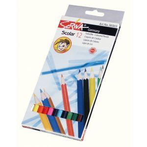 Boite 12 crayons couleurs 'eco' Scriva 18 cm