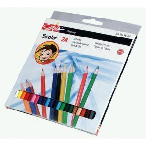 Boite 24 crayons couleurs 'eco' Scriva 18 cm