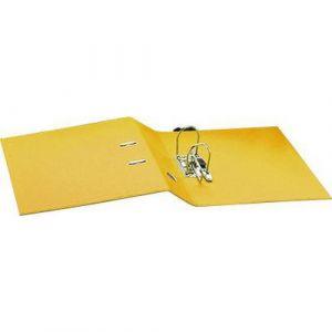 Classeur à levier plastique A4 dos: 75mm avec œillets de blocage et porte-étiquettes - Jaune