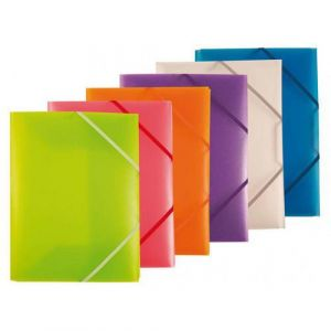 Assortiment de 20 chemises polypropylène 3 rabats + élastiques pour format A4 couleurs assorties selon arrivage, 4/10e
