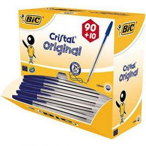 Stylo bille moyenne Bic Cristal (Pack de 100) bleu