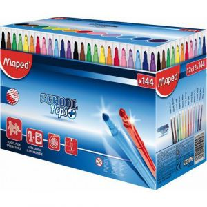 Schoolpack de 144 feutres pointe conique 3.6mm en 12 couleurs assorties School Peps Maped