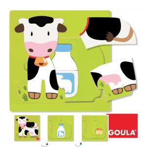 Puzzle 3 niveaux vache