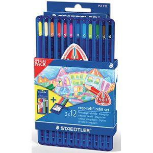 Etui 12 crayons de couleurs Ergosoft + 1 recharge 12 crayons OFFERTE
