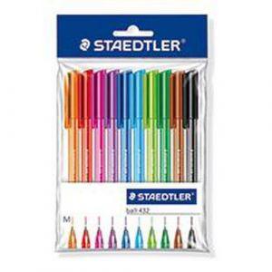 Pochette 10 stylos bille Staedtler pointe moyenne