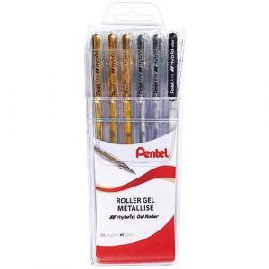 Pochette 6 stylos bille encre gel Pentel
