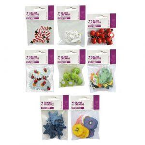 Lot 2 sachets 60 pièces décorées en bois nature/mer taille 1,5 à 3 cm