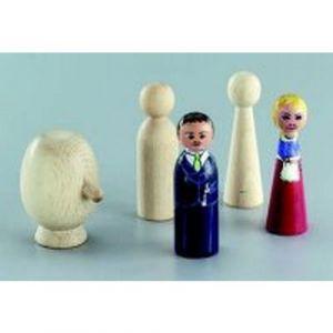Pion figurine bois 90mm à décorer - femme
