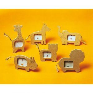 Assortiment 6 mini cadres en médium animaux