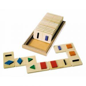 Jeu de reconnaissance visuelle et tactile de formes ou tridimensionnelles : domino tactile des formes