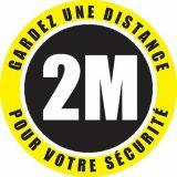 Autocollant de sol 'distance de sécurité 2M' usage intérieur 30 cm (Boite de 50)