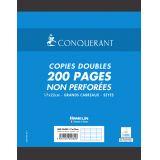 CONQUERANT Copies Doubles Non Perforées 17x22cm Grands Carreaux Seyès 200 Pages Sous Film Blanches