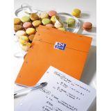 OXFORD Bloc-Notes Perforé Orange A4+ Petits Carreaux 5mm 80 Feuilles Agrafées Couverture Carte Enduite Orange