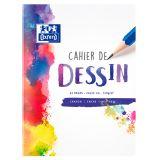OXFORD Cahier Dessin 24x32cm Réglure Unie Blanche 32 Pages Agrafées Couverture Polypro Colorée