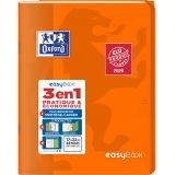 OXFORD Cahier EasyBook 17x22cm Grands Carreaux Seyès 48 Pages Agrafées Couverture Polypro Coloris Assortis