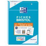 OXFORD Bloc de Fiches Bristol 2.0 A5 Petits Carreaux 5mm 30 Fiches Collées Bords Bleus