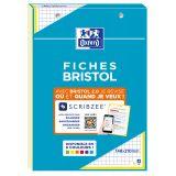 OXFORD Bloc de Fiches Bristol 2.0 A5 Petits Carreaux 5mm 30 Fiches Collées Bords Jaunes