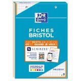 OXFORD Bloc de Fiches Bristol 2.0 A5 Petits Carreaux 5mm 30 Fiches Collées Bords Orange