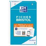OXFORD Bloc de Fiches Bristol 2.0 12,5x20cm Petits Carreaux 5mm 30 Fiches Collées Blanches