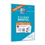 OXFORD Bloc de Fiches Bristol 2.0 A5 Petits Carreaux 5mm 30 Fiches Collées Blanches