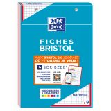 OXFORD Bloc de Fiches Bristol 2.0 A5 Petits Carreaux 5mm 30 Fiches Collées Bords Rouges