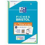 OXFORD Bloc de Fiches Bristol 2.0 A5 Petits Carreaux 5mm 30 Fiches Collées Bords Verts