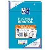 OXFORD Bloc de Fiches Bristol 2.0 A5 Petits Carreaux 5mm 30 Fiches Collées Bords Violets