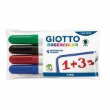 Pochette 4 marqueurs effaçables à sec Robercolor Giotto pointe biseautée