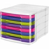 Bloc 8 tiroirs 37x30x27 cm 250 feuilles A4 par tiroir. h du tiroir: 2,7cm - multicolore