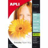 Supports pour imprimantes jet d'encre couleurs  : pochette de 100 feuilles papier photos every day  format 10 x 15, 180 g