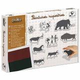 Kit 10 tampons peintures rupestres + 1 encreur bicolore noir et marron