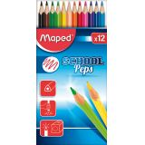 Etui 12 crayons couleurs School Peps Maped