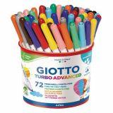 Pot 72 feutres couleur assortis Giotto turbo Advanced pointe moyenne