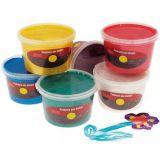 Assortiment de 6 pots 250 ml peinture aux doigts sélection pichon nacrée