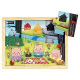 Puzzle bois 6 pièces - Les 3 petits cochons