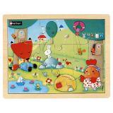 Puzzle bois 9 pièces - Poule rousse