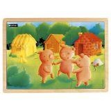 Puzzle bois 9 pièces - Les 3 Petits Cochons